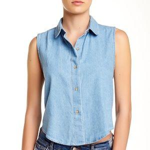 American Apparel Denim Sleeveless Crop Shirt